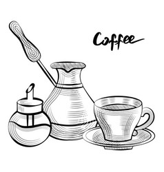 Coffee pot and cup with sugar container set vector