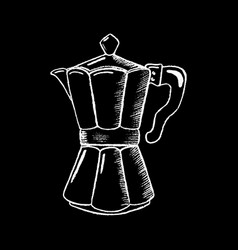 coffee pot white chalk on black chalkboard vector image vector image