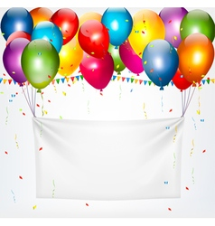 Colorful balloons holding up a cloth white banner vector