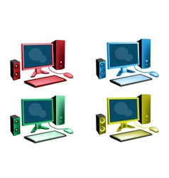 Colorful Set of Desktop Computer Icon vector image