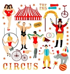 Colorful set with circus star vector
