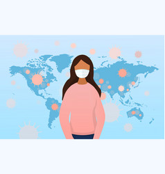 coronavirus concept with girl wearing a mask vector image