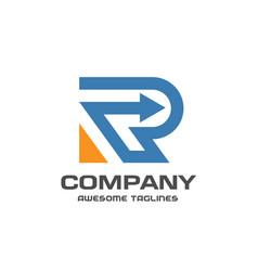 creative letter r with arrow logo vector image