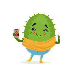 cute cactus with cup of coffee in its hand funny vector image