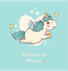 cute flying unicorn on blue background with hearts vector image