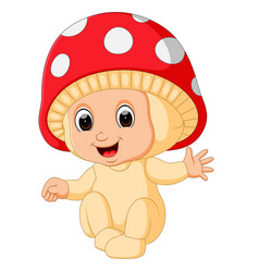 cute kids cartoon wearing mushroom costume vector image