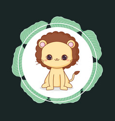 cute lion with leafs vector image