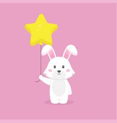 Cute rabbit holding balloon free vector
