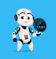 Cute robot hold clock reminder robotic girl vector