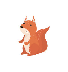 cute squirrel woodland cartoon animal vector image