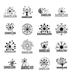 Dandelion logo icons set simple style vector