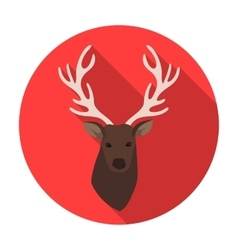 Deer head icon in flat style isolated on white vector image