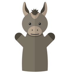 Donkey hand puppet doll for theatre show vector
