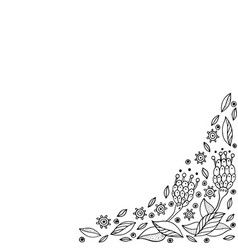 doodle frame with flowers coloring page for vector image