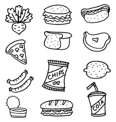 Doodle set food element collection vector