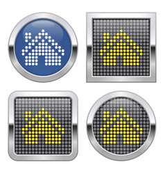 dotted icon home on glossy button in four vector image