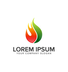 Drop fire oil gas logo design concept template vector