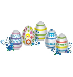 Easter eggs and flowers vector