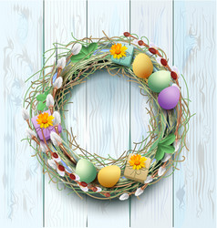 Easter wreath decoration branch of willow and vector