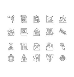 election line icons signs set outline vector image