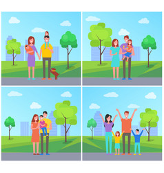 Family in park set of people vector