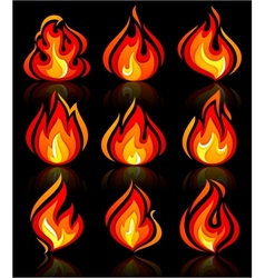 fire flames new set with reflection on a vector image