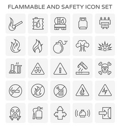 flammable safety icon vector image