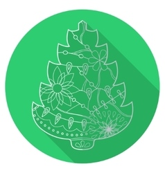 Flat icon of christmas tree vector image