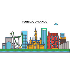 florida orlandocity skyline architecture vector image