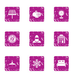Forest enterprise icons set grunge style vector