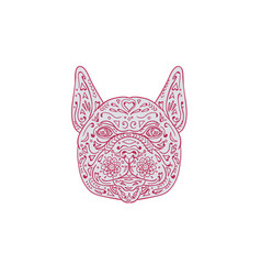French bulldog head front mandala vector