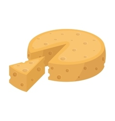 French hard cheese icon in cartoon style isolated vector image