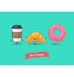 funny cartoon Funny coffee croissant vector image