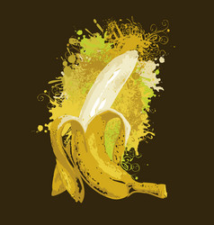 Half-peeled banana and abstract juice splashes vector
