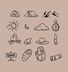 hand drawn camping theme vector image