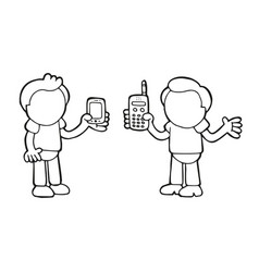 hand-drawn cartoon of two men show their new and vector image
