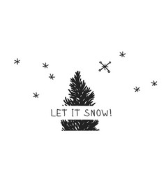 hand drawn christmas tree on white background vector image