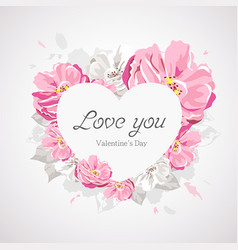 Happy valentines day white heart on pink flower vector