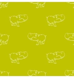 Hippopotamus Seamless Drawing Pattern vector image