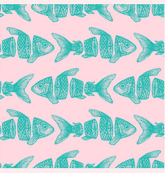 hipster sliced fish seamless pattern vector image