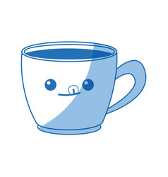 Kawaii coffee cup beverage drink break office icon vector