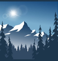 landscape winter sunny day vector image