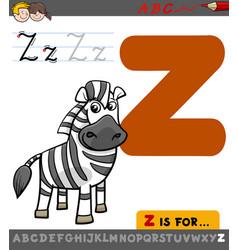 Letter z with cartoon zebra vector