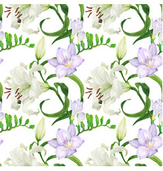 Lily and freesia flowers watercolor seamless vector