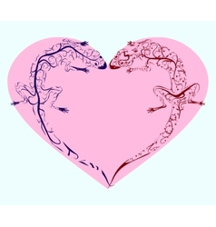 Lizards twisted heart vector