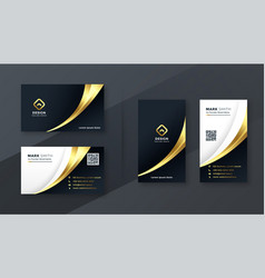 luxury golden business card template design set vector image