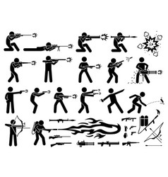 man attacks with various type modern warfare vector image