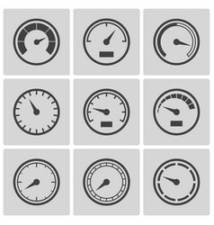 meter icons flat style set vector image