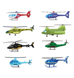 Military police and medical helicopters icon set vector