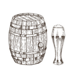 Oak container and glass of frothy ale graphic art vector